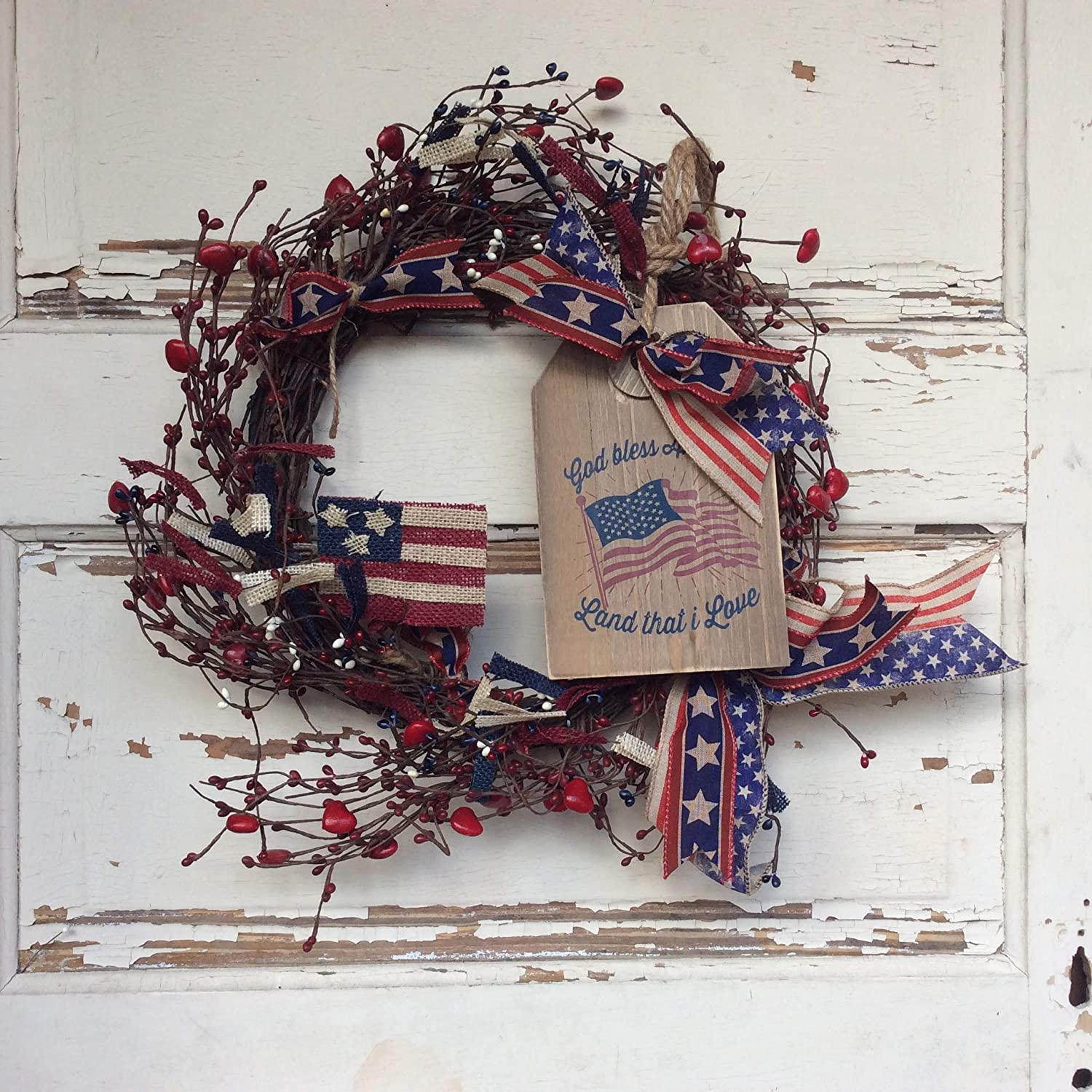 AGD Patriotic Decor Land That I Love Red Pipberry Grapevine Wreath