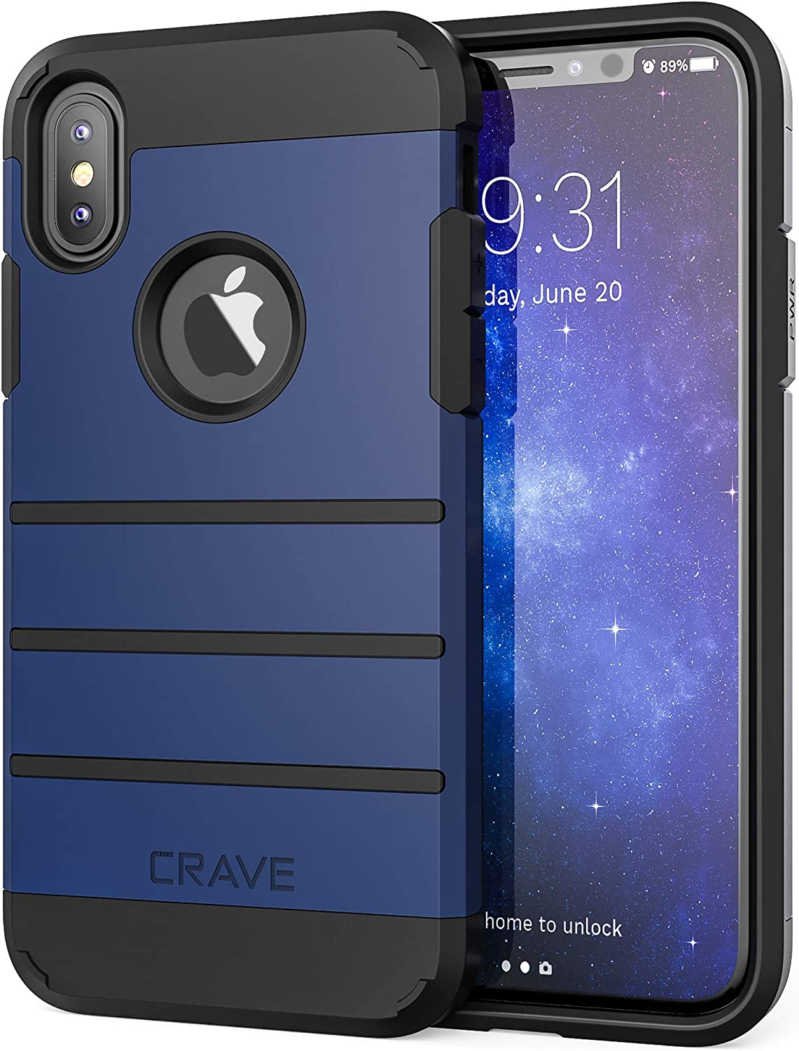 Crave iPhone Xs Case, iPhone X Case, Strong Guard Protection Series Case for Apple iPhone X/XS (5.8 Inch) - Navy