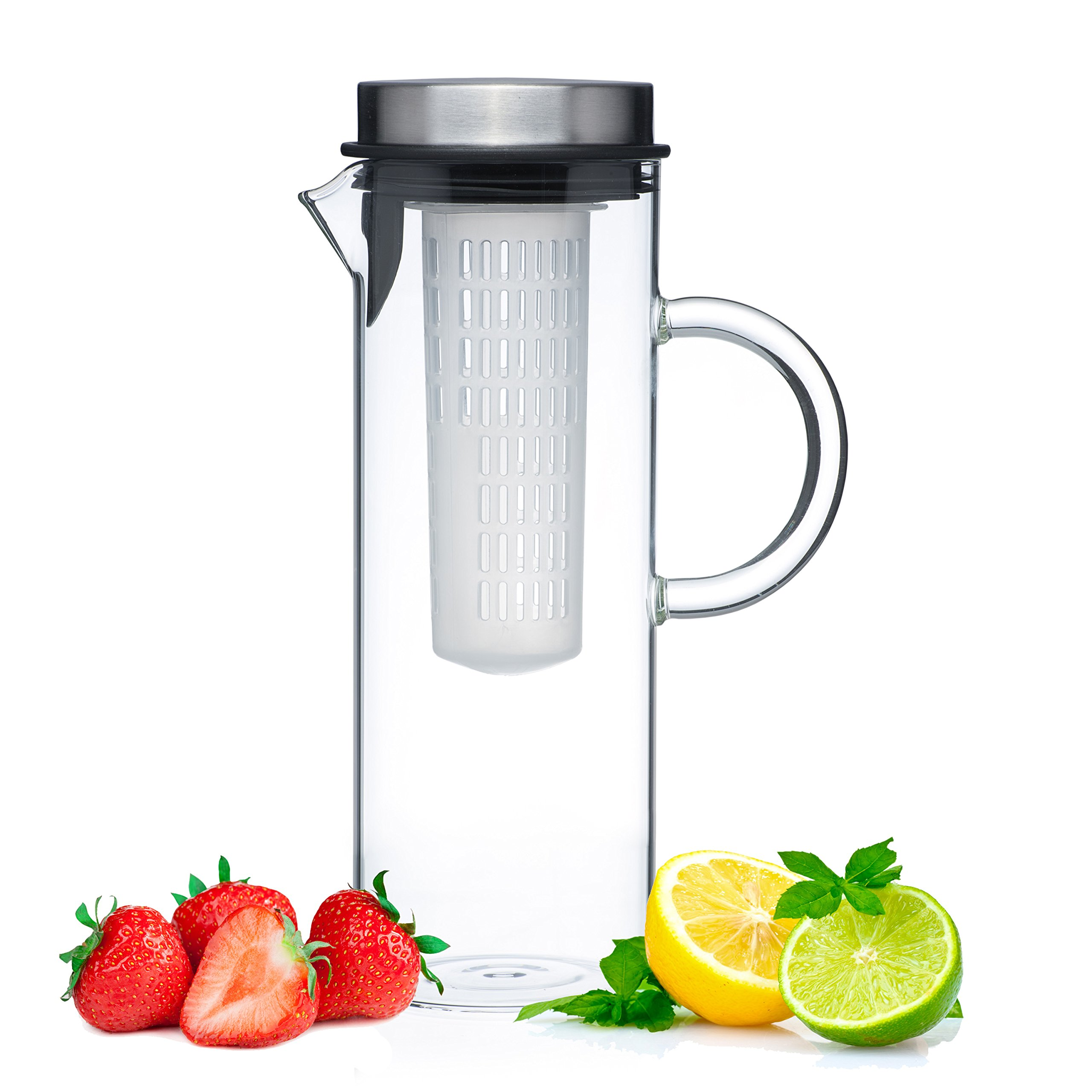 Glass Water Pitcher With Lid & Fruit Infuser Rod - Borosilicate Glass Carafe W/Up To 50Oz/1500ml Capacity - Stainless Steel Lid, BPA FREE Infusion Filter - Perfect For Coffee, Tea, Sangria, Juice