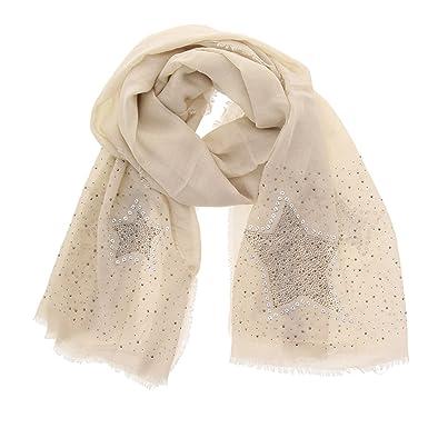FASHIONGEN - Echarpe femme douce imitation coton, strass et étoile, NUARA -  Beige e632d643833