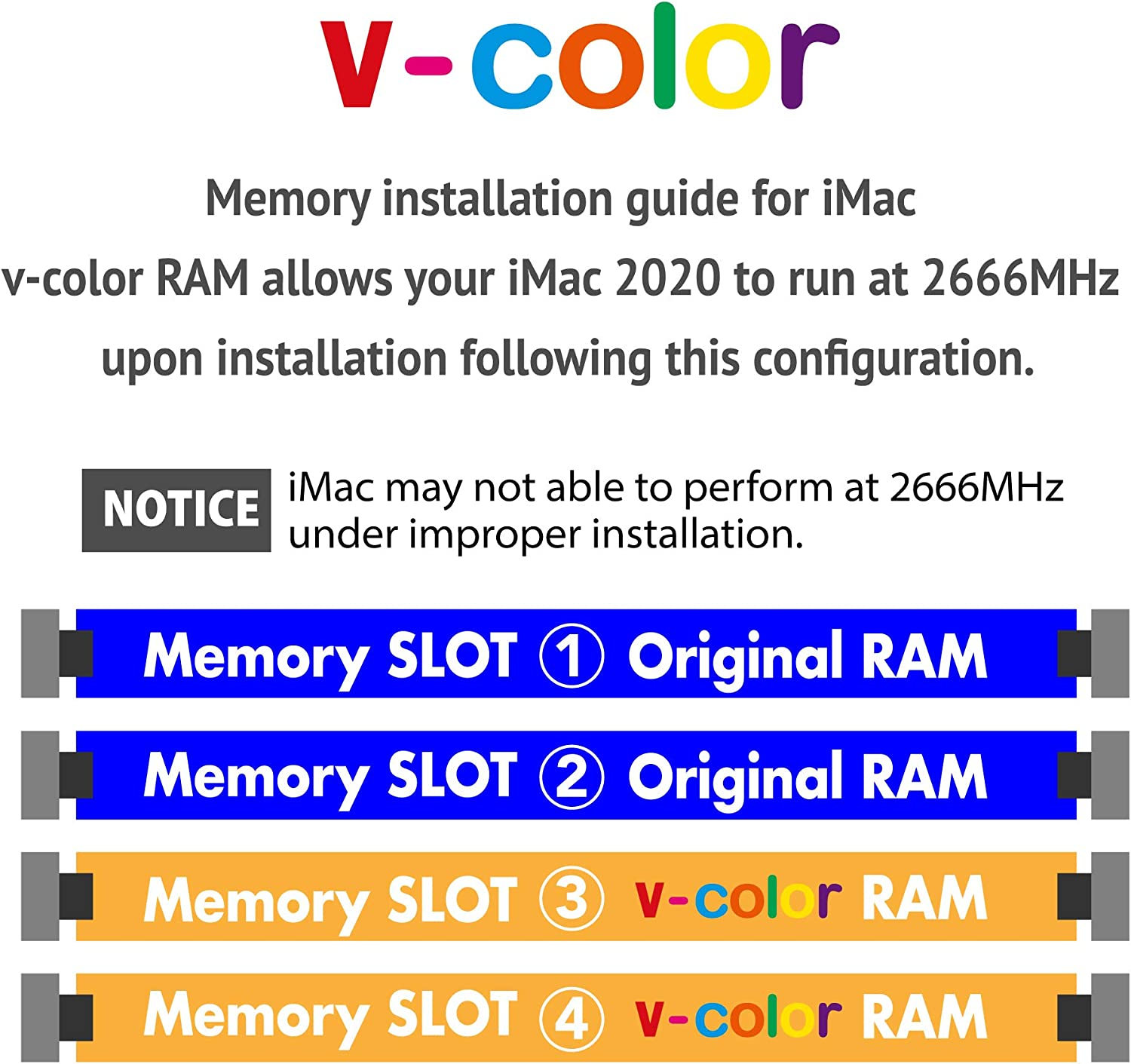V-Color 32GB(2x16GB) DDR4 2666MHz RAM for Apple iMac 2020 & 2019 - (VHA19ASSRAG8T-AG26SD) 5