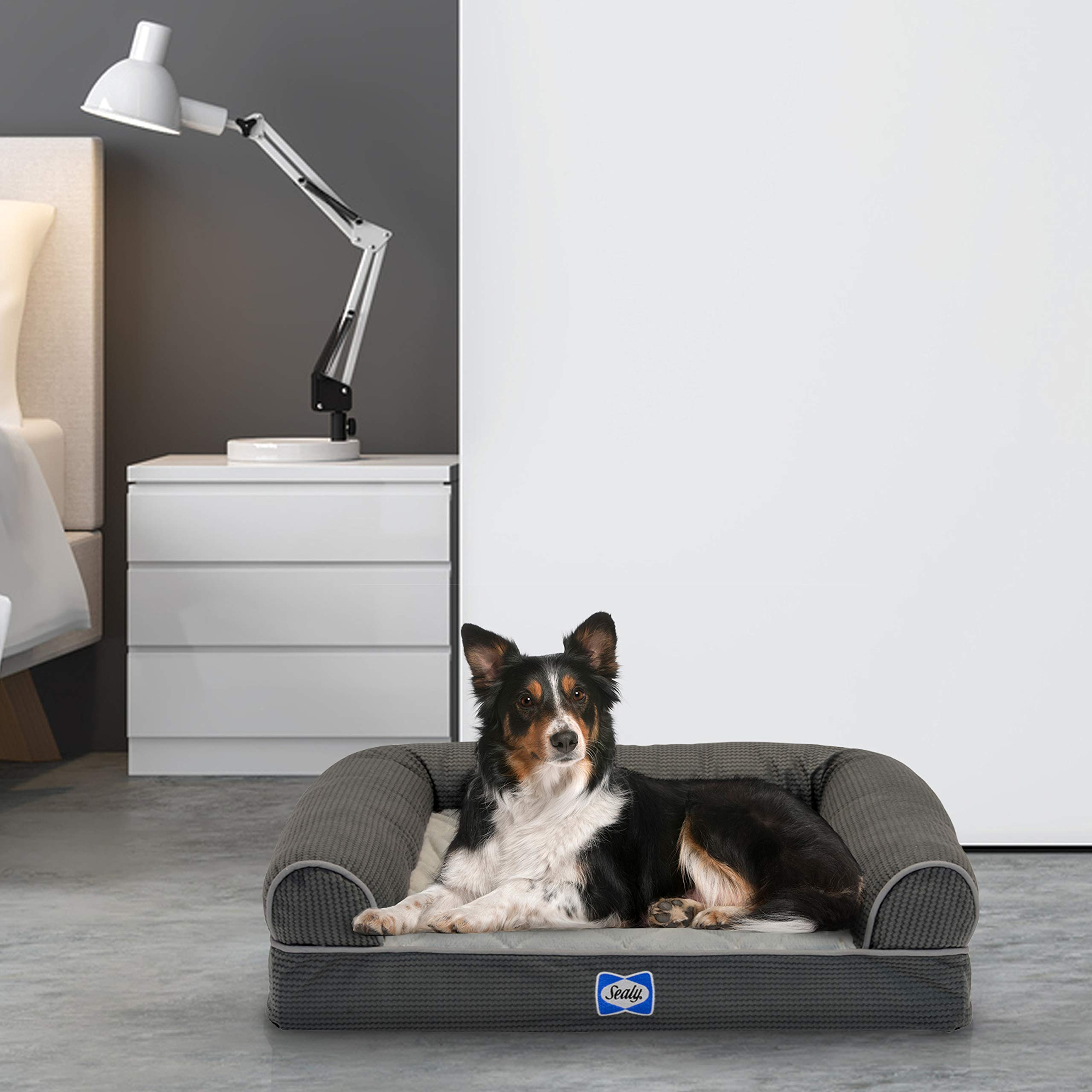 Sealy Ultra Plush Sofa-Style Bolster Dog Bed Gray, Medium - Orthopedic Foam Pet Bed with Machine Washable Plush Cover