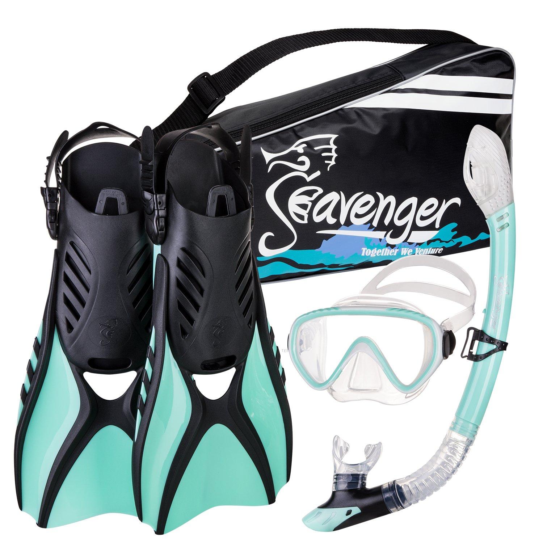 Seavenger Advanced Snorkeling Set with Panoramic Mask, Trek Fins, Dry Top Snorkel & Gear Bag (Mint, Medium) by Seavenger