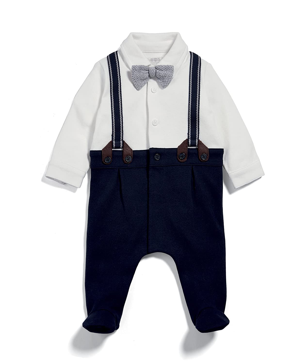 Mamas & Papas Baby Boys' Navy Mock Braces All in One Sleepsuits Mamas and Papas