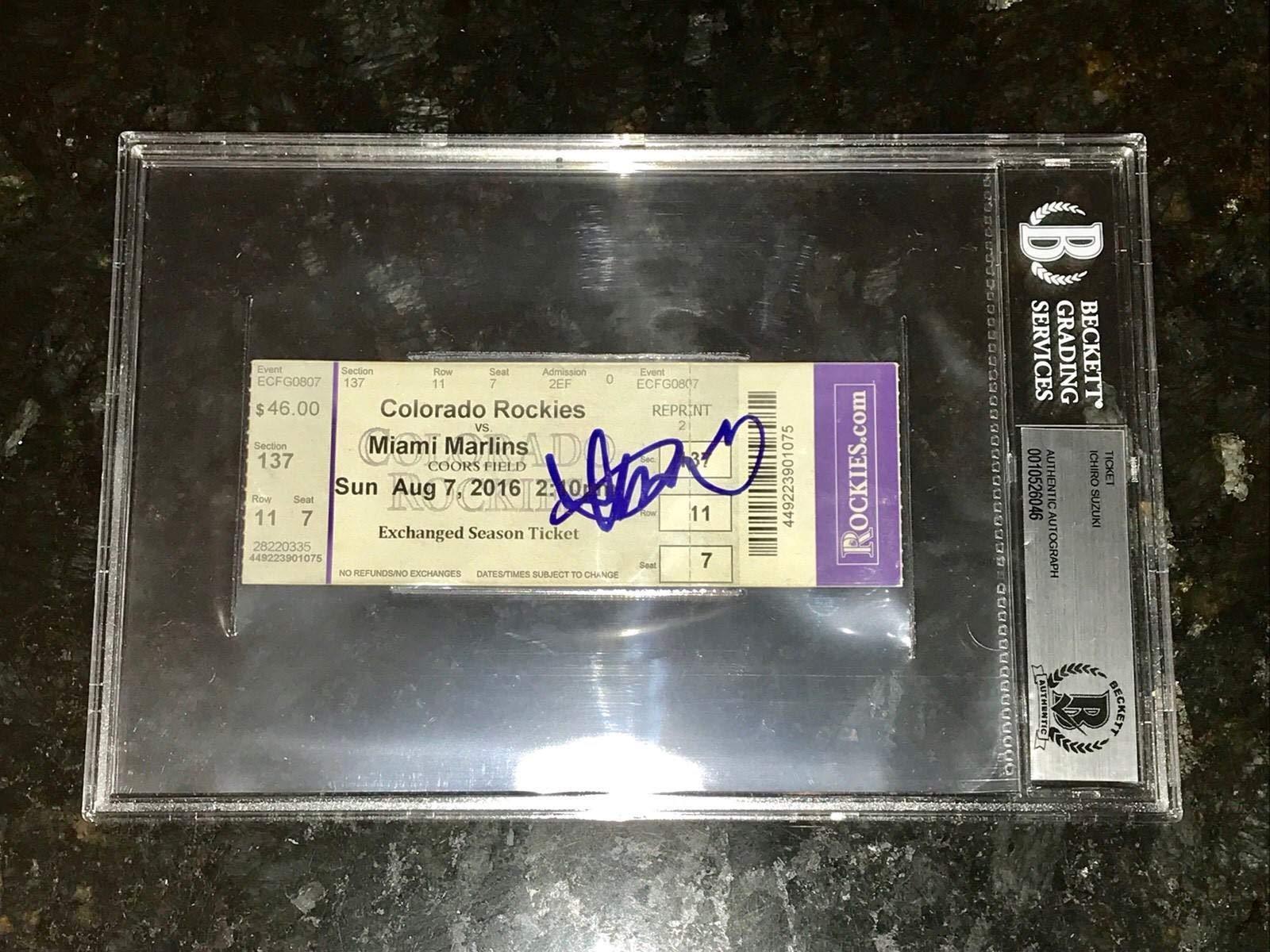 Ichiro Suzuki Autographed Signed Autograph 3000 Hit Ticket Slabbed Mariners Sports Memorabilia Beckett Authentic Memorabiliaated Bas