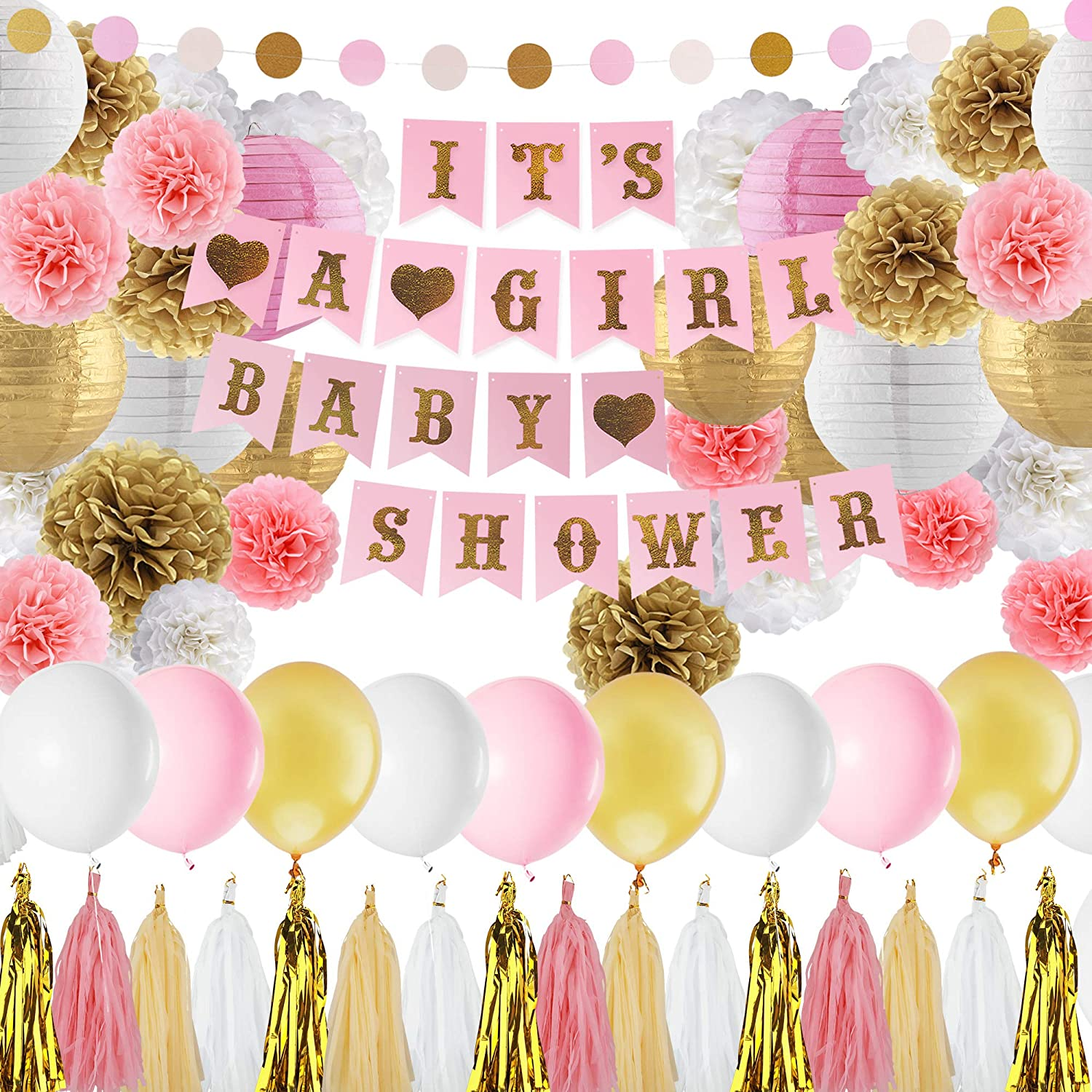 Baby Shower Decorations for Girl Pink and Gold Baby Girl Shower Decorating  Kits with Banner, Balloons, Pom Poms Flowers, Paper Lantern, Paper Garland,  ...
