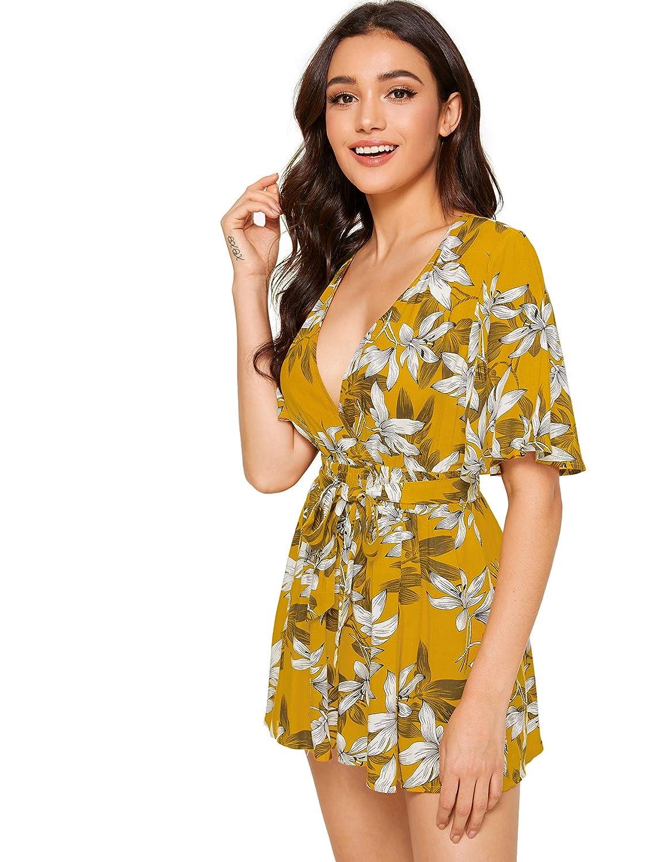 3a9ac82b33bff7 Amazon.com: SheIn Women's V Neck Floral Print Tie Waist Short Romper  Jumpsuit: Clothing
