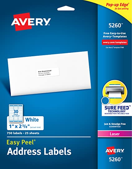 Amazon Avery Mailing Address Labels Laser Printers 750