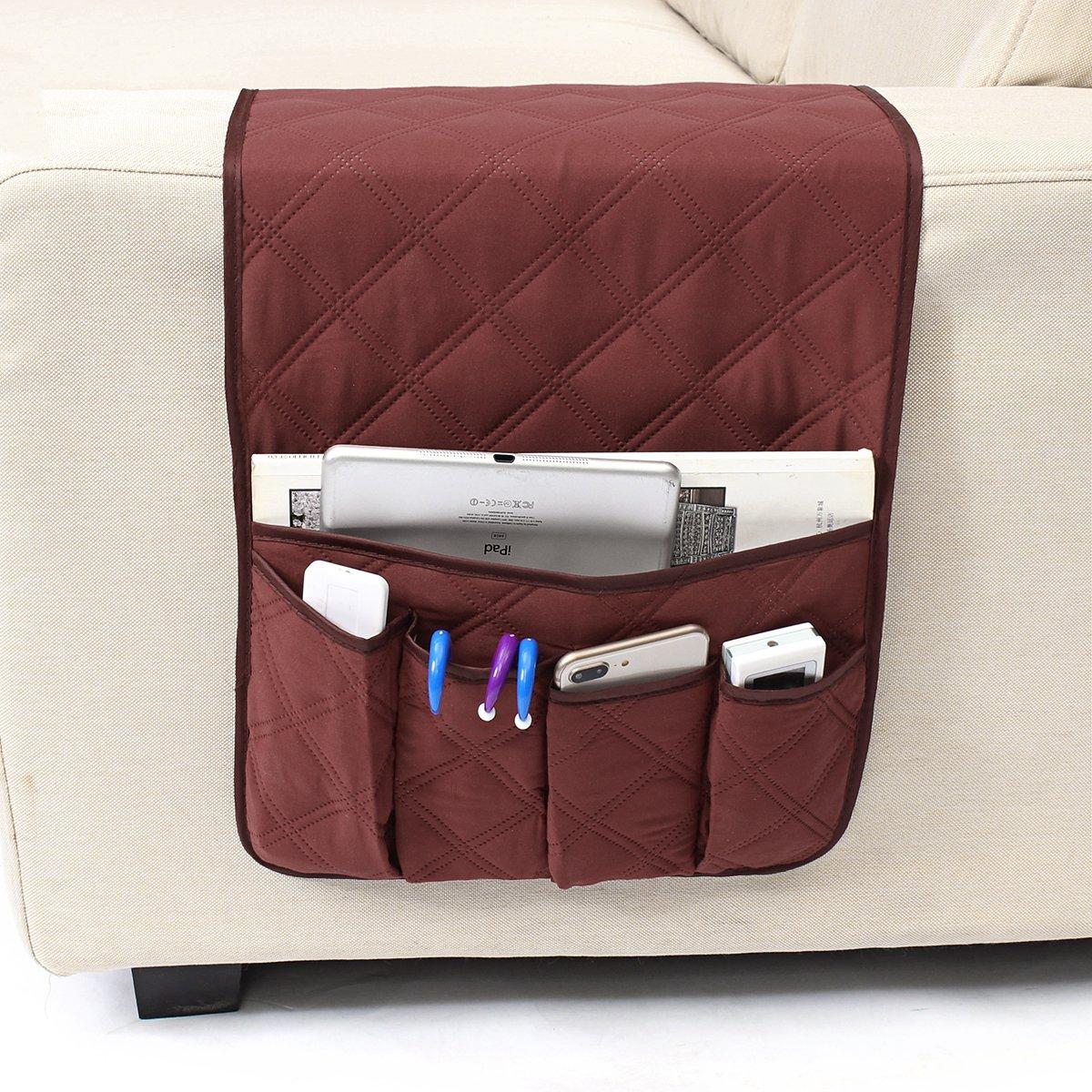 GEMITTO Salvaspazio da comodino del divano impermeabile del telecomando Pocket organiser multiuso contenitore compatibile con telecomando e supporto per telefono e libro Brown