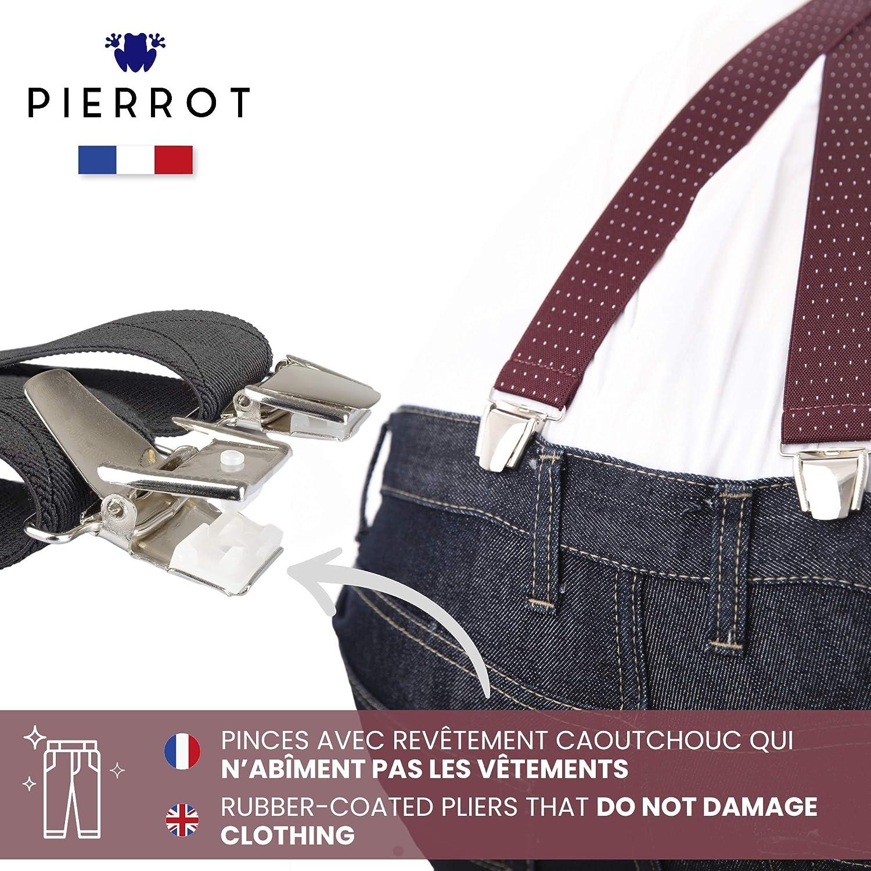 29 Colori Prima Qualit/à Taglia Unica Regolabile Fino a 130 CM PIERROT Fatto in Francia Extra Forte Clip Bretelle Uomo Eleganti