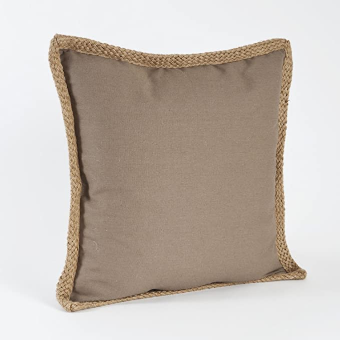 Amazon 40 Jute Braided Cotton Throw Pillow Down Filler Stunning Jute Pillow Cover With Braided Trim