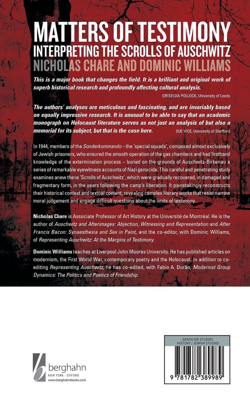 Matters Of Testimony: Interpreting The Scrolls Of Auschwitz: Amazon:  Nicholas Chare, Dominic