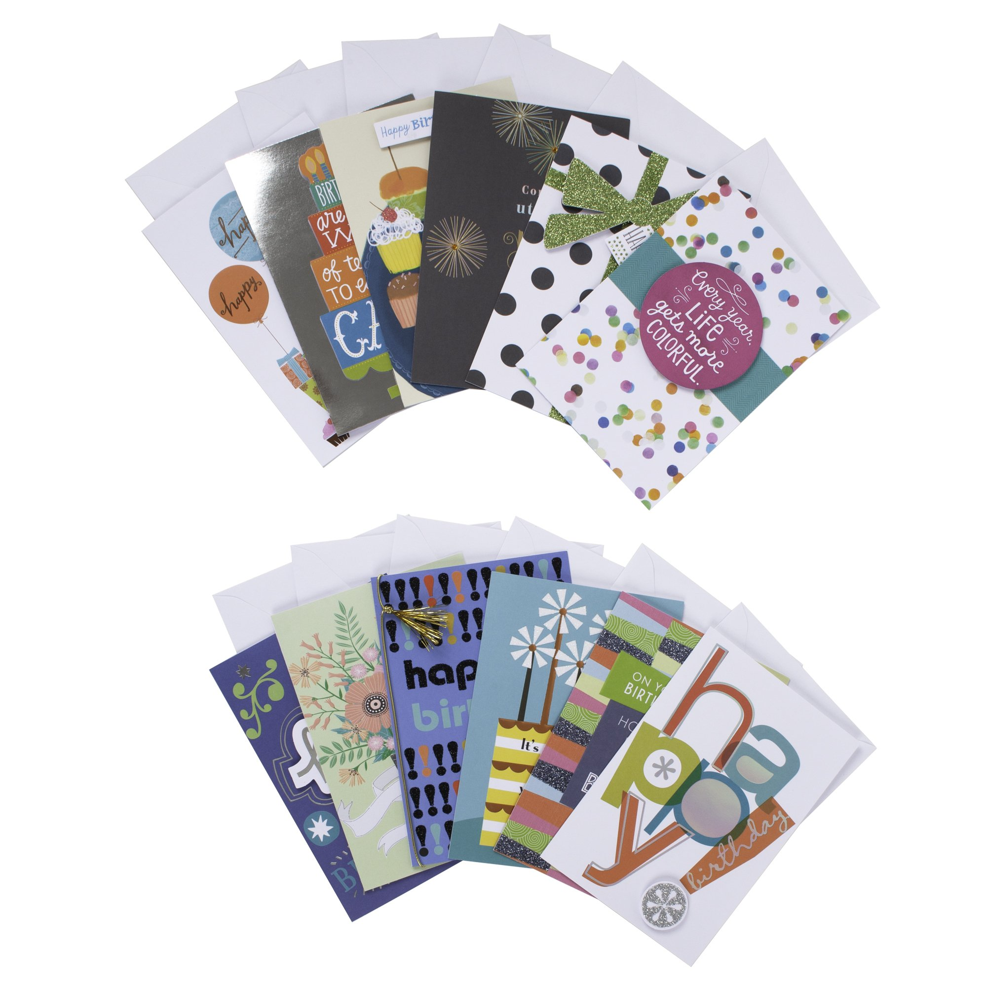 Hallmark Handmade Assorted Birthday Greeting Cards Box Set (Pack of 12 Cards with Envelopes Included)