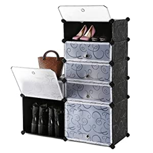 SEVVY Shoe Rack Organiser. DIY Shoe Portable Storage Cabinet. 8 Cube Shoe Wardrobe. (Black)