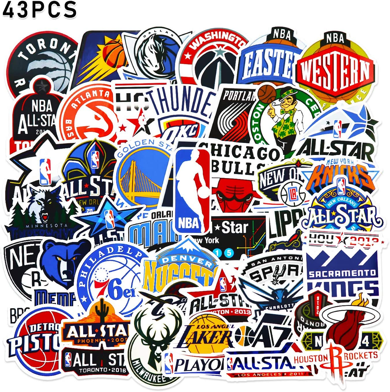 NBA Stickers 43 Pcs Basketball Team Logo Set 30Pcs Team Logo + 13Pcs All-Star Logo Sports Stickers