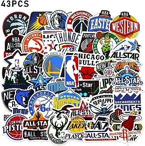 NBA Stickers 43 Pcs Basketball Team Logo Set 30Pcs Team Logo + 13Pcs All-Star Logo Sports Stickers