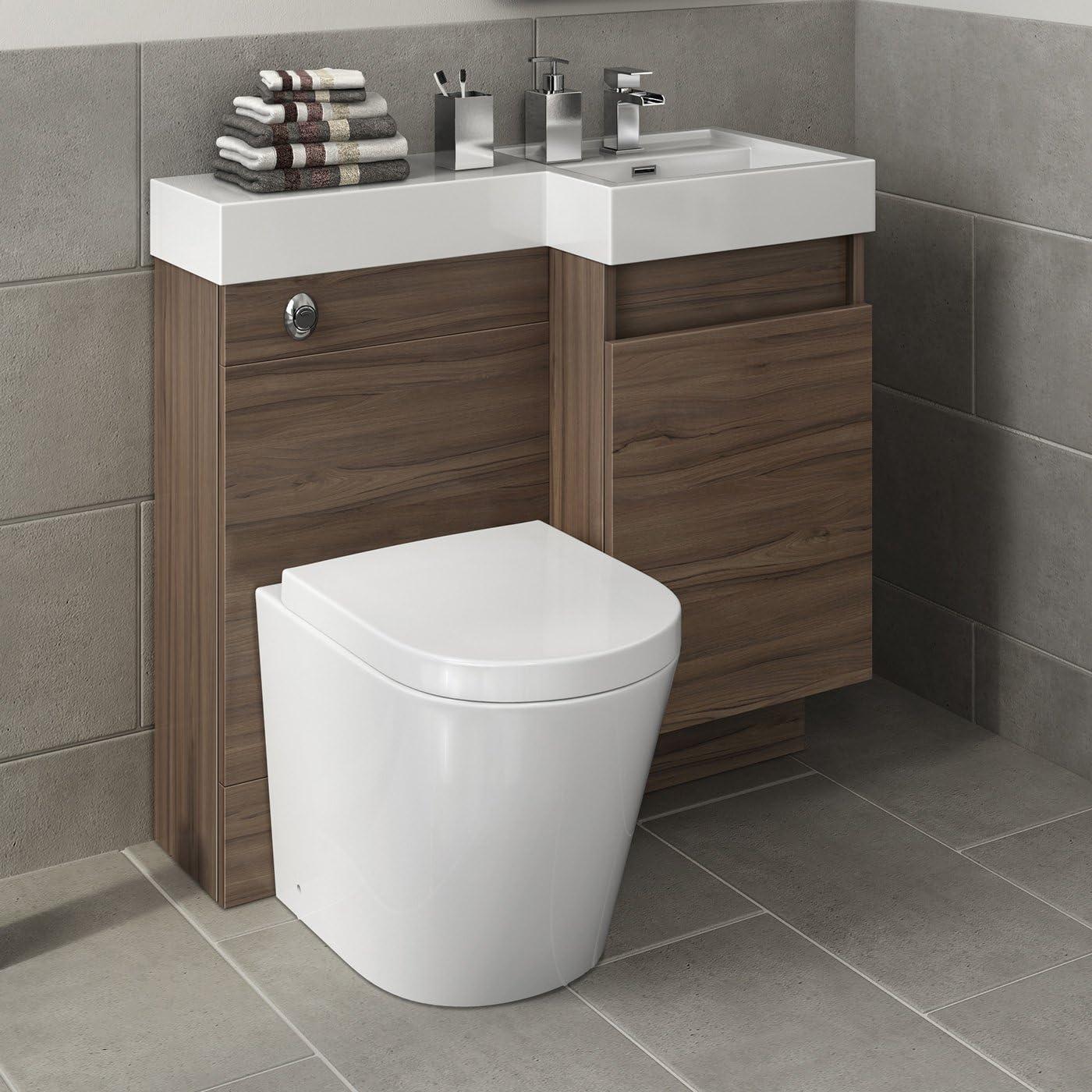 8mm Walnut Vanity Unit Back to Wall Toilet Bathroom Sink