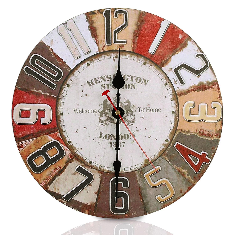 Vintage Retro Wall Clock SOLEDI 12 Inch Clock Arabic numerals Silent Non-Ticking Large Decorative Round French Clocks (Red)