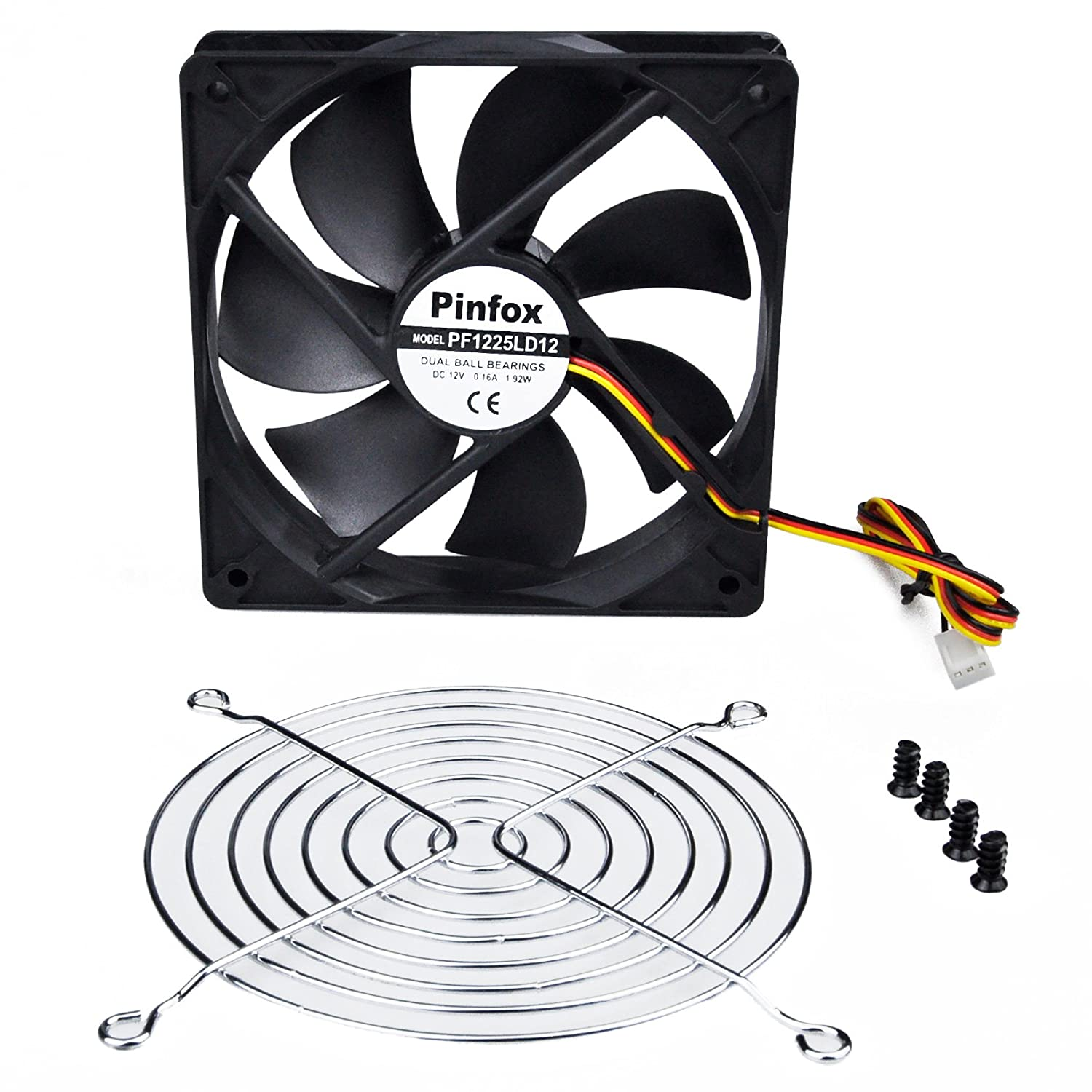 Pinfox 12v Dc 120mm Quiet Cooling Fan Variable Speed Electric Wiring Kit Adjustable Probe Style Control By 5v To Input Dual Ball Bearings 3 Pin For Pc Computer Case Home Theater