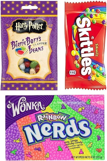Harry Potter Bertie Botts Every Flavour Jelly Belly Beans Wonka Nerds Rainbow Skittles Fruits Selection Gift American Box Bag regalo de cumpleaños americana: Amazon.es: Alimentación y bebidas