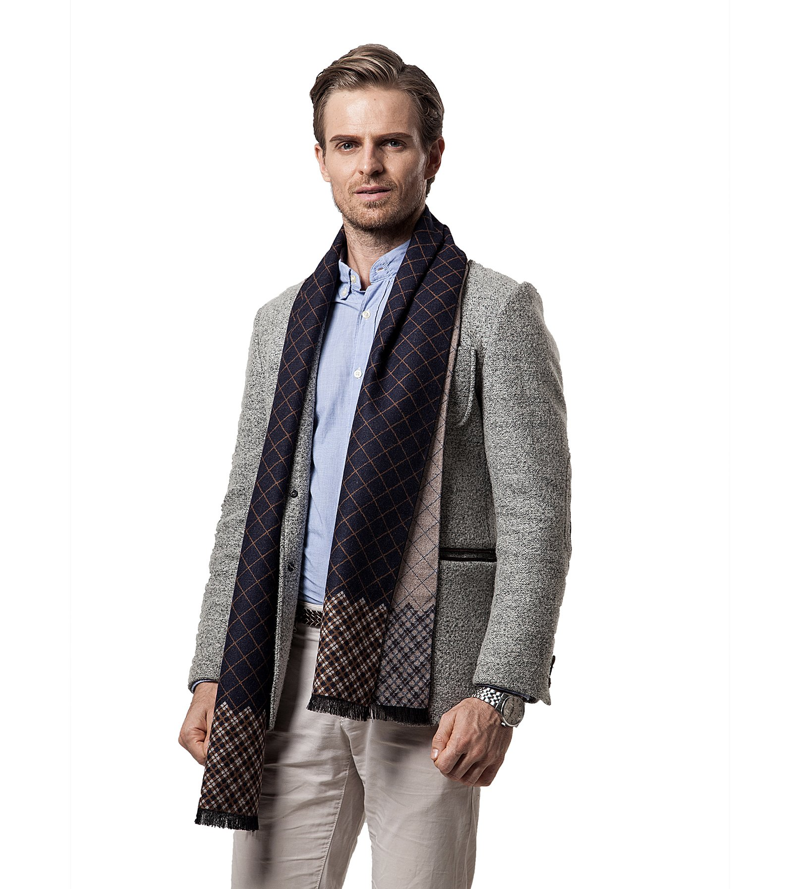 Cashmere Man Scarf Winter Men Scarf Fashion Designer Shawl Bussiness Casual Scarves (Style 2)