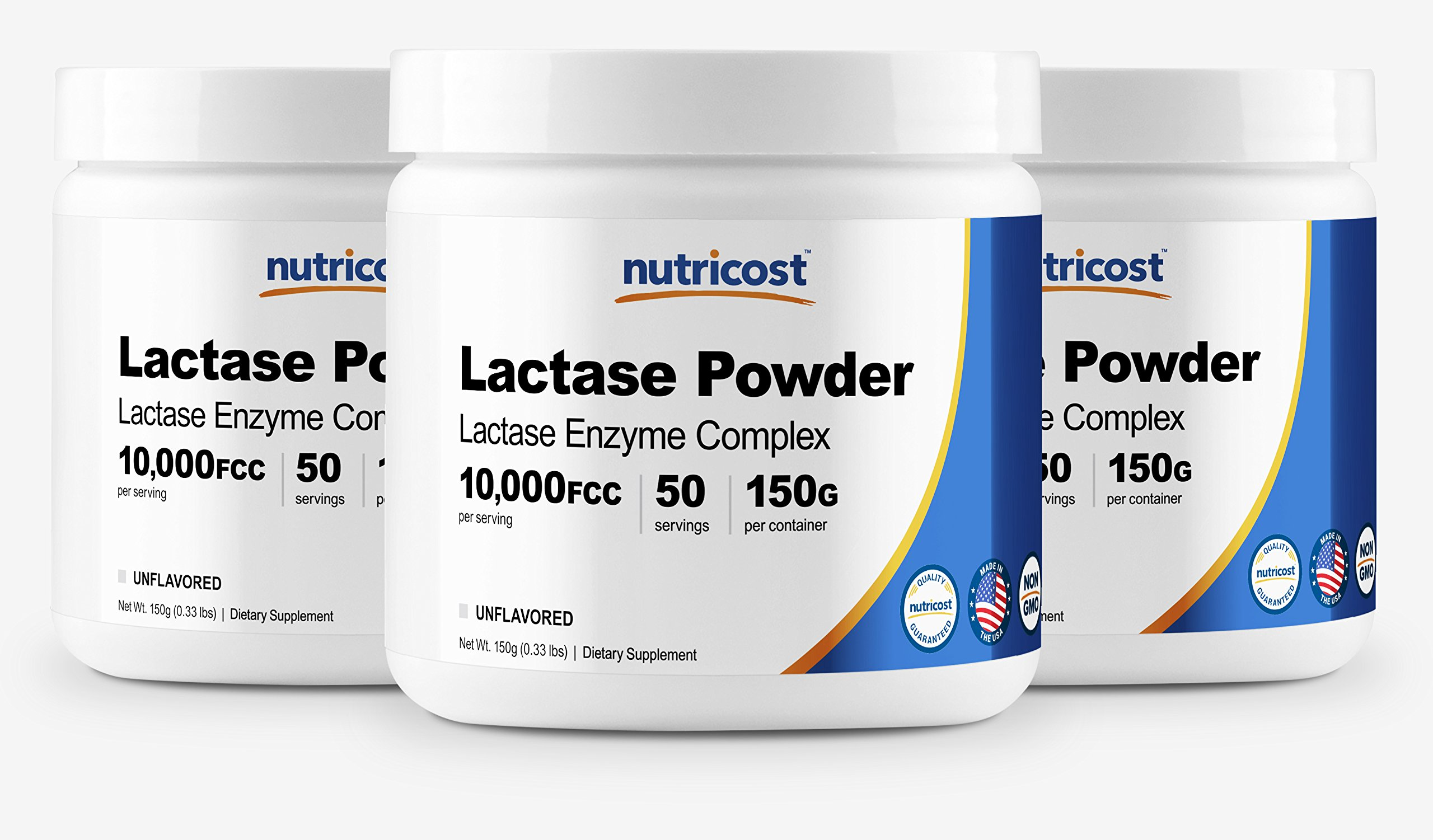 Nutricost High Quality Lactase Enzyme Powder 150G - Lactase Enzyme Complex (3 Bottles) - 10,000FCC Per Serving, Non GMO, Gluten Free