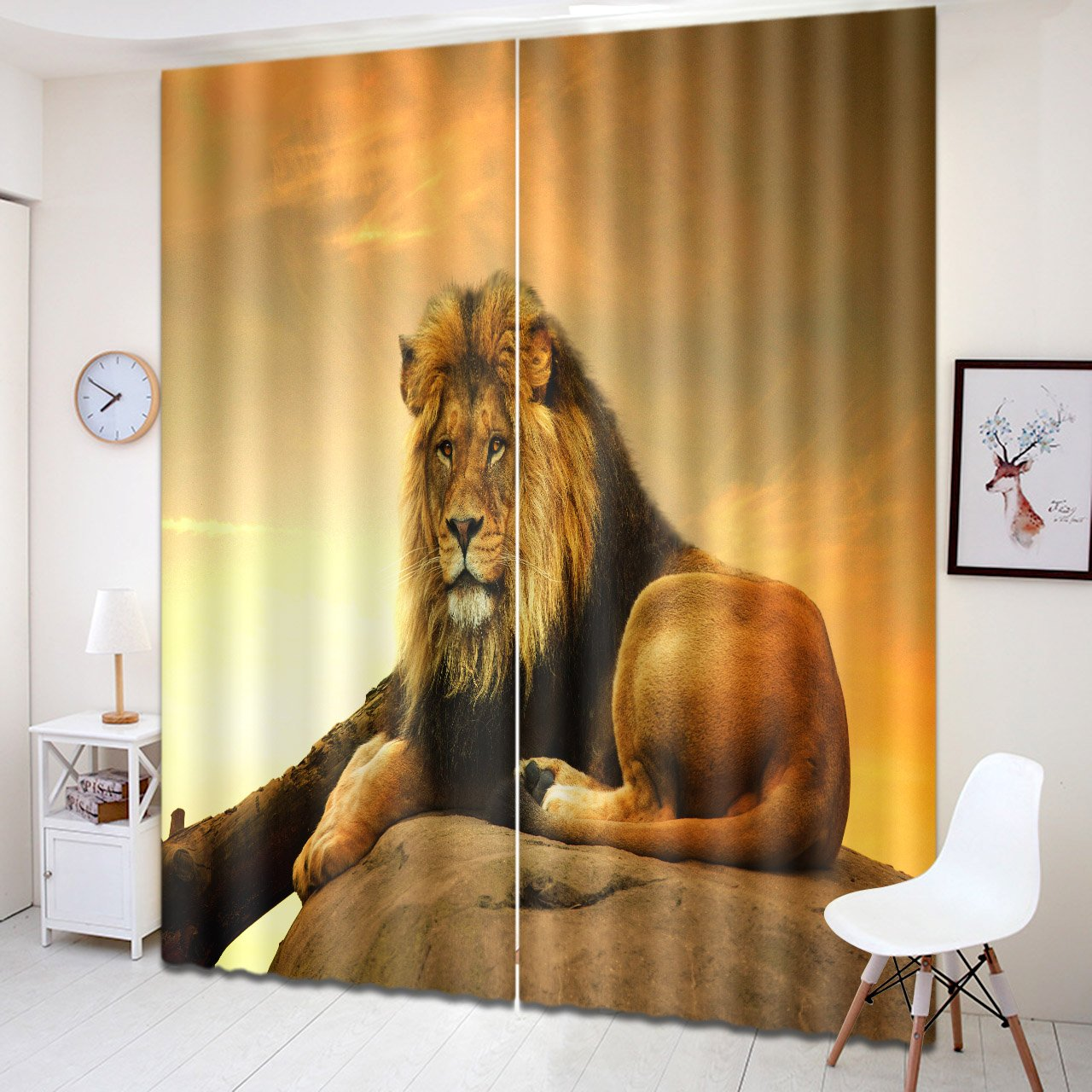 LB Teen Kids Animals Decor Room Darkening Thermal Insulated Blackout Curtains,Lying Lion 3D Window Curtains Drapes Living Room Bedroom 2 Panels Set,28 in Width 65 inch Length by LB (Image #4)