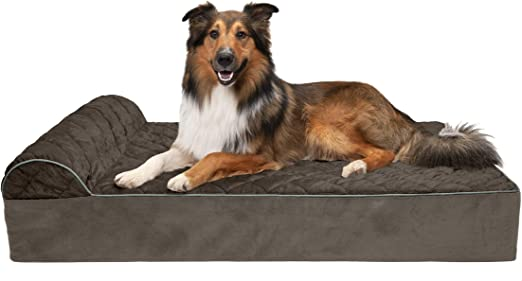 Amazon Com Furhaven Pet Dog Bed Orthopedic Goliath Quilted Faux Fur And Velvet Chaise Lounge Living Room Couch Pet Bed With Removable Cover For Dogs And Cats Espresso 2xl Pet Supplies