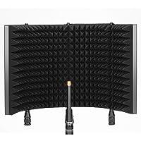 Neewer Pro Protector de Aislamiento de Micrófono Protector de Micrófono de 4 Paneles Parte Delantera de Espuma…