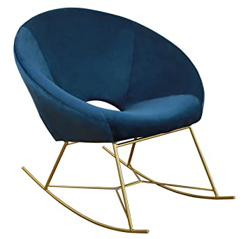 Tov Furniture TOV S3825 The Nolan Collection Modern Velvet Upholstered  Rocking Papasan Chair With Gold
