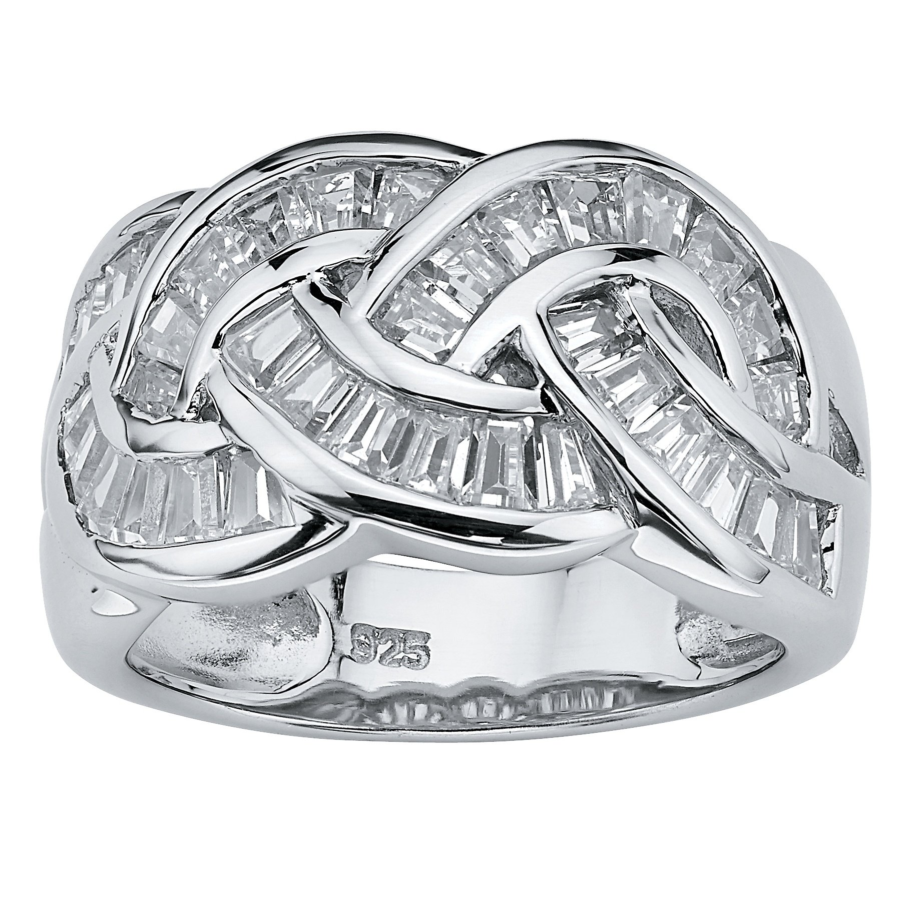 Baguette-Cut White Cubic Zirconia Platinum over .925 Sterling Silver Channel Crossover Ring Size 7 by Palm Beach Jewelry