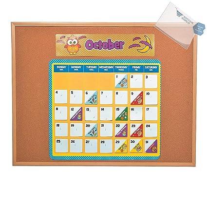 amazon com paper owl bulletin board calendar kit with sticky notes
