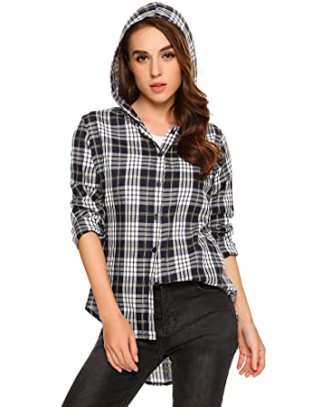 26c84dd725b11d Meaneor Women Summer Long Sleeve Plaid Hooded Button Down Shirt Blouse   Amazon.co.uk  Clothing