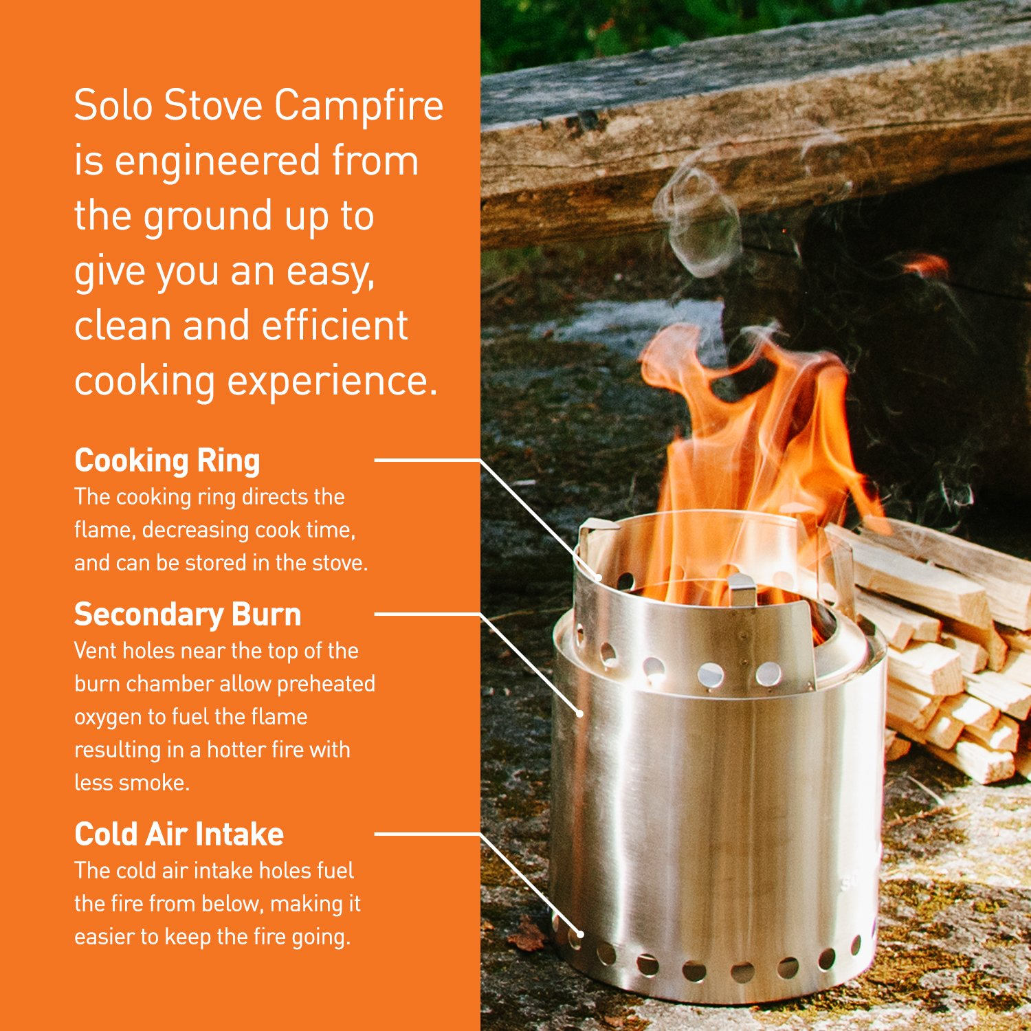 Solo Stove Campfire - 4+ Person Compact Wood Burning Camp Stove for Backpacking, Camping, Survival. Burns Twigs - NO Batteries or Liquid Fuel Gas Canister Required. by Solo Stove (Image #4)