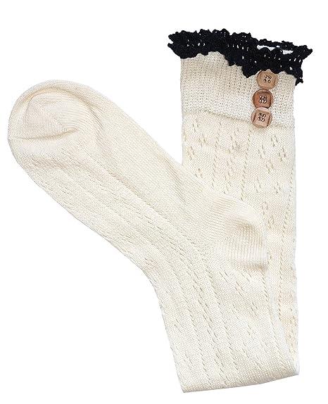 Mujeres rodilla calcetines altos con el cordón de algodón y botones abiertas calcetines de punto de