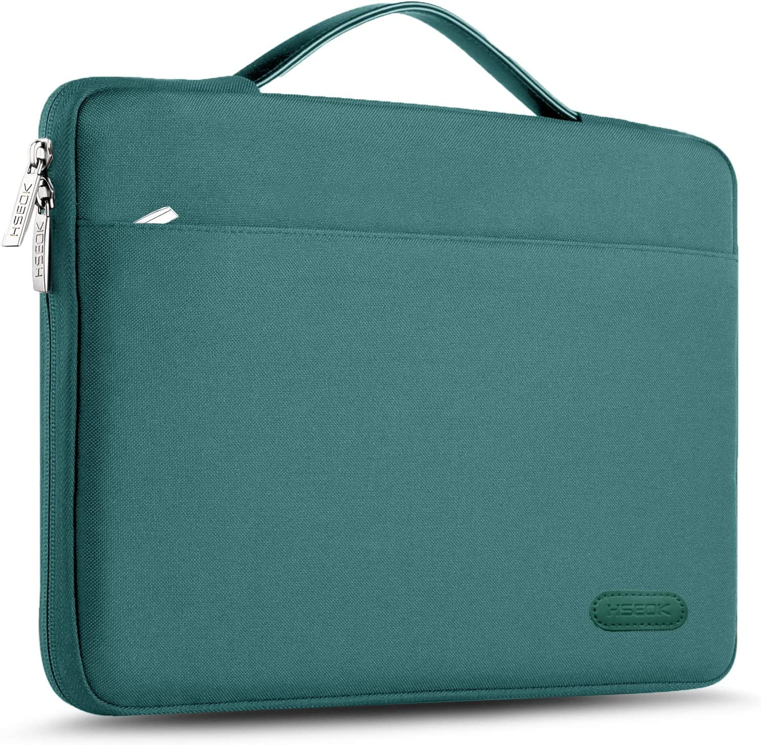 """Hseok Laptop Sleeve 13-13.5 Inch Case Briefcase, Compatible All Model of 13.3 Inch MacBook Air/Pro, XPS 13, Surface Book 13.5"""" Spill-Resistant Handbag for Most Popular 13""""-13.5"""" Notebooks, Dark Green"""