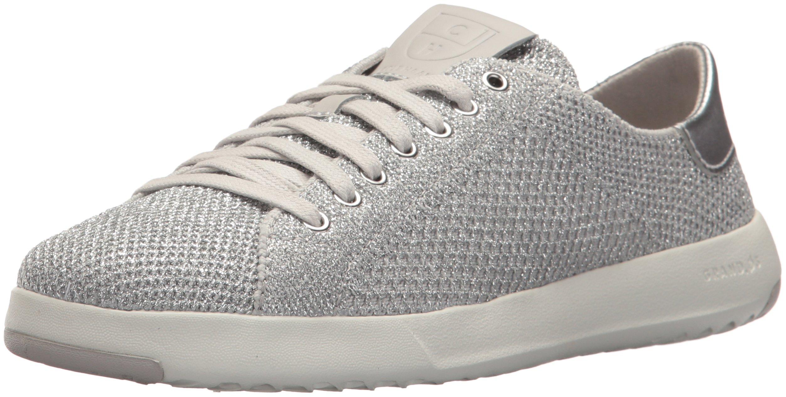 Cole Haan Women's Grandpro Tennis Stitchlite Sneaker, Metallic/Silver, 6 B US