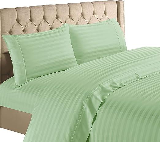 1000 TC Egyptian Cotton Bed Linen-Sheet set//Fitted//Duvet//Flat Pink Striped