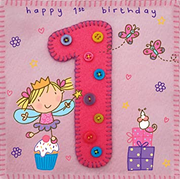 Twizler 1st Birthday Card For Girl With Fairy Princess Presents And Butterfly