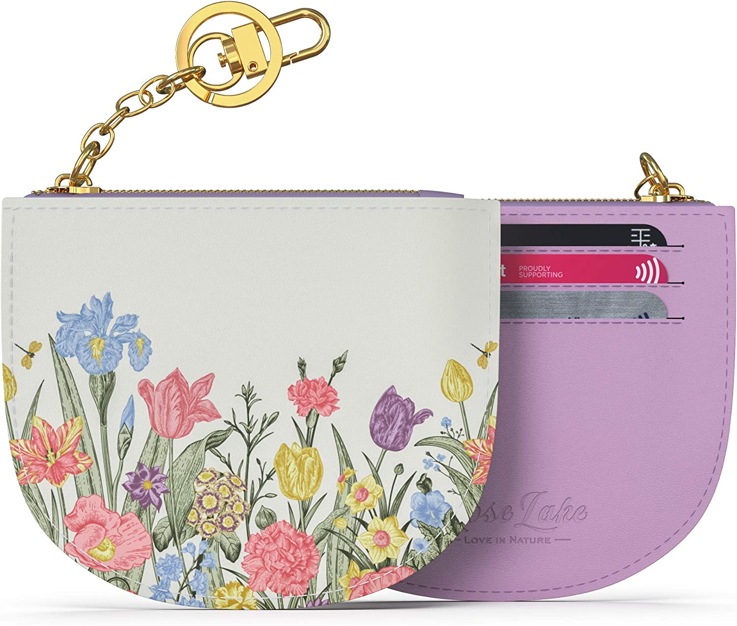 Amazon Com Coin Purse Change Card Case Wallet With Keychain Soft Leather Mini Zipper Pouch Women Girls Gift Flower Purple Shoes
