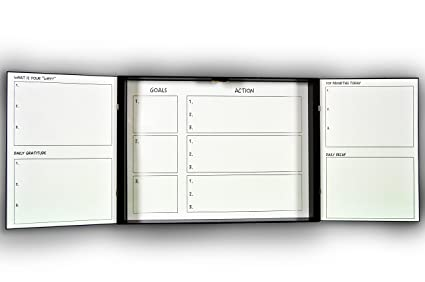 Synrgy Dry Erase Goals Board   Lightweight Magnetic Dry Erase Board    Whiteboard Cabinet Black Wood