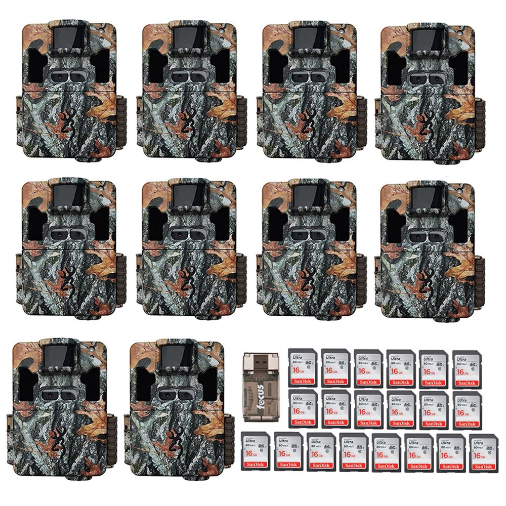Ten Browning Dark Ops Pro XD Dual Lens 24MP 1080p Trail Cameras with Twenty 16GB Cards and Focus USB Reader