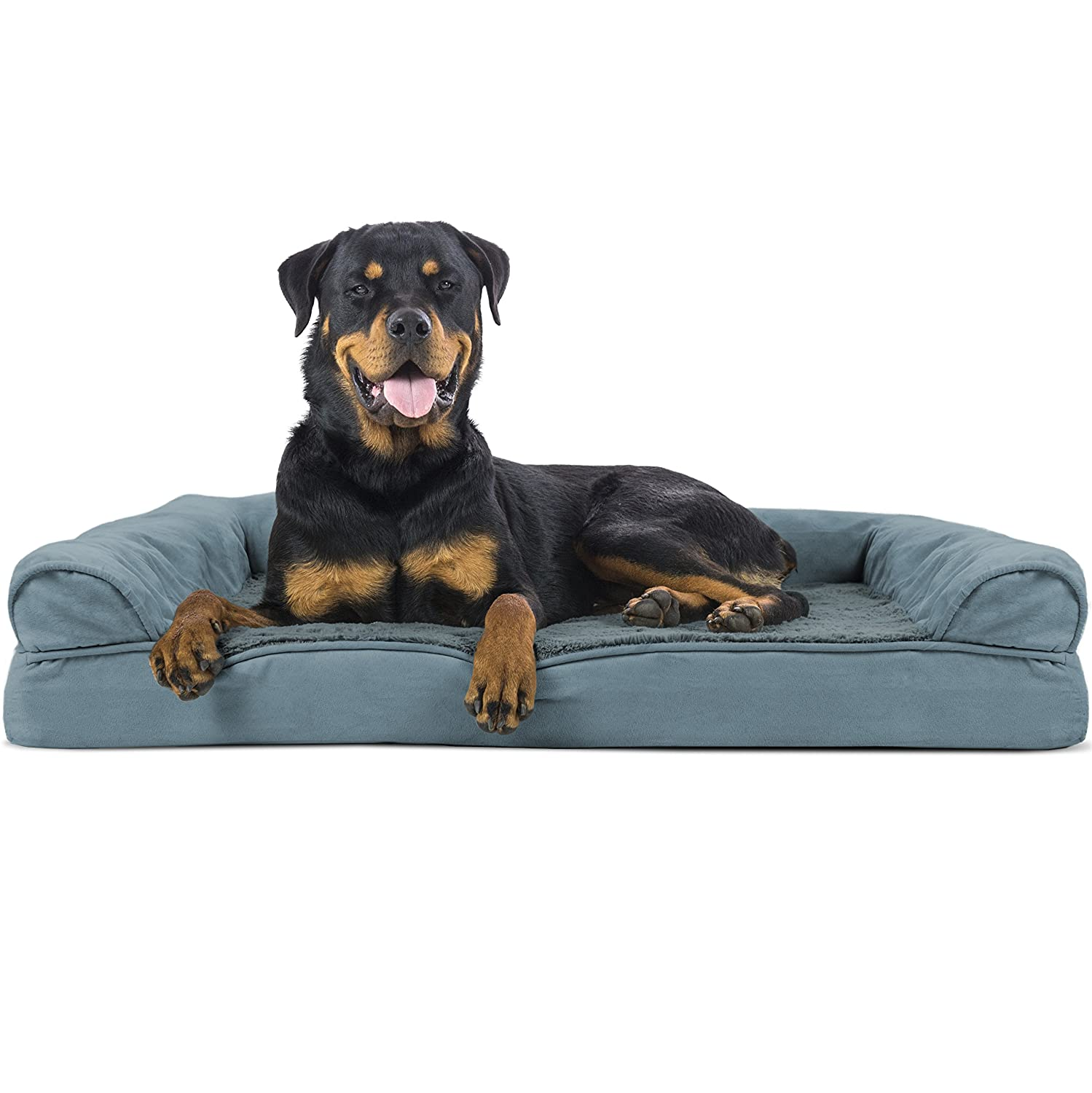 FurHaven Pet Dog Bed   Orthopedic Ultra Plush Sofa-Style Couch Pet Bed for Dogs & Cats, Deep Pool, Jumbo