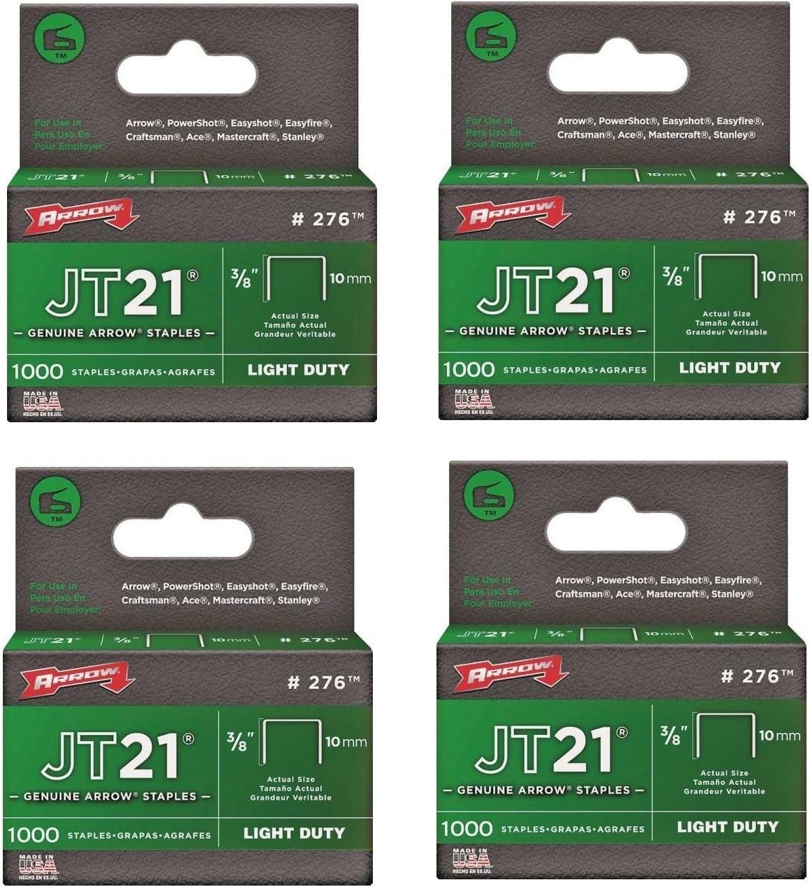 5 Pack Arrow Fastener 276 JT21 3//8 Flat Crown Light Duty Staples 1000 per Package