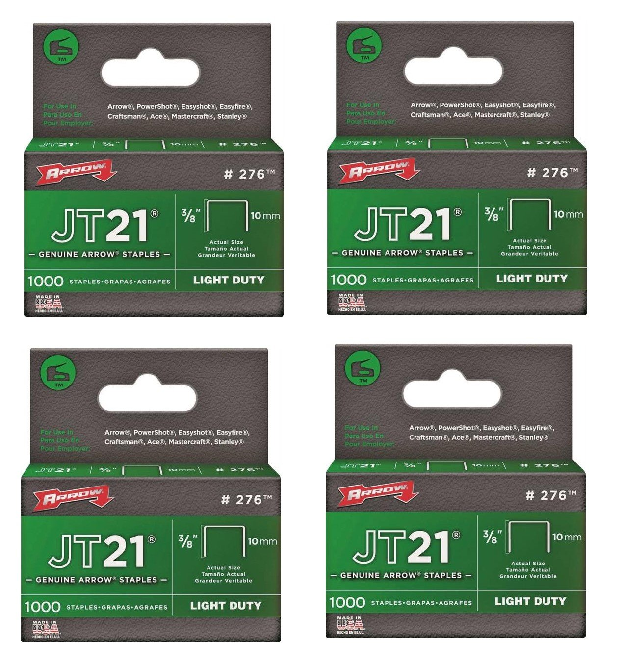 Arrow Fastener 276 3/8'' JT21 Staples