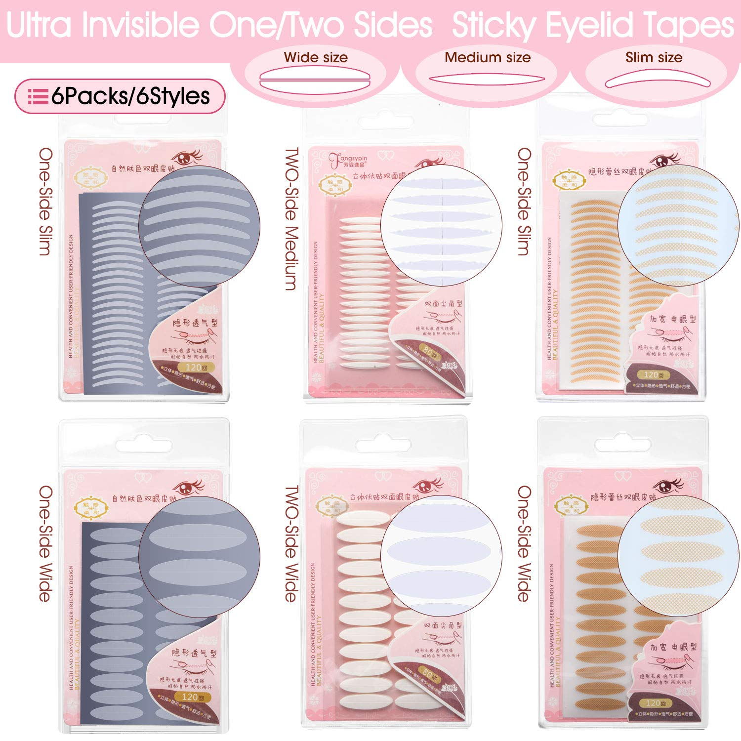 INS 6 Styles 6 Packs Natural Invisible One/Two Sides Sticky Double Eyelid Tapes, Medical-use Fiber Eyelid Strips, Instant lift Eyelid Without Surgery, Perfect for Hooded, Droopy, Uneven, Mono-eyelids
