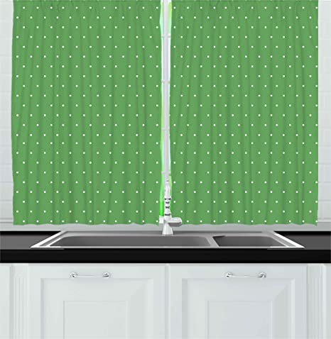 Amazon Com Ambesonne Green Kitchen Curtains 50s 60s Style Retro Vintage Inspired Simple Design With Little Polka Dots Image Window Drapes 2 Panel Set For Cafe Decor 55 X 39 And