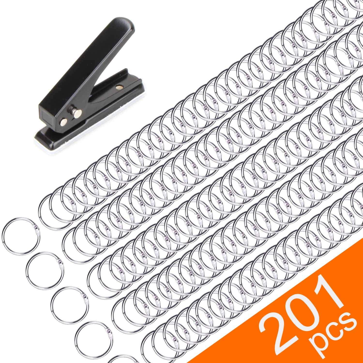 200 Pack Book Rings, Small 1-Inch Metal Rings, Nickel Plated Metal Rings for Flashcards, Index Card Rings, Come with Single Hole Punch Low Force 1-Hole Punch, 20 Sheets Punch Capacity, 1/4'' Holes by VICNOVA