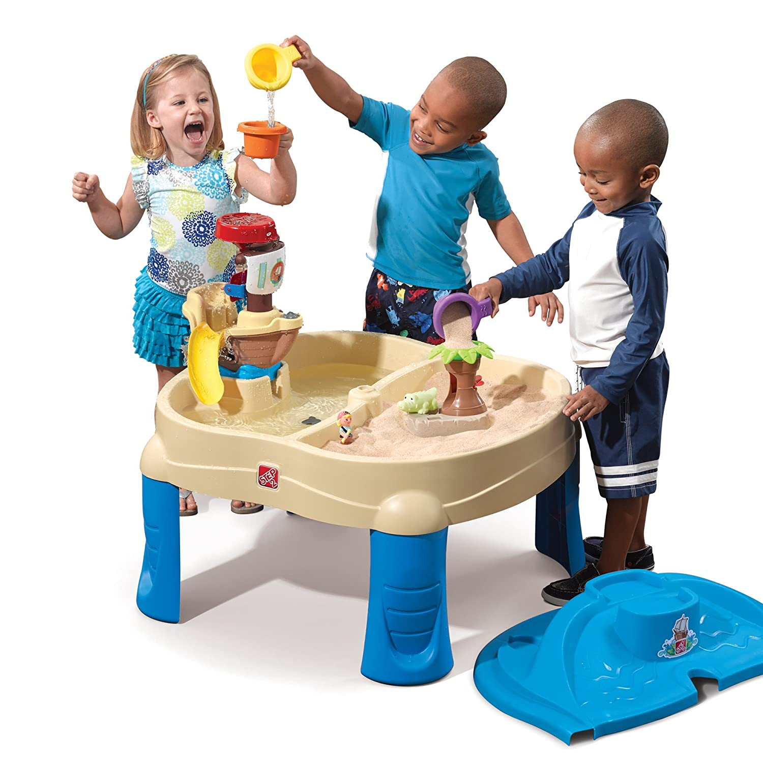 Amazon.com: Step2 High Seas Adventure Sand Toys And Water Table With  Umbrella: Toys U0026 Games
