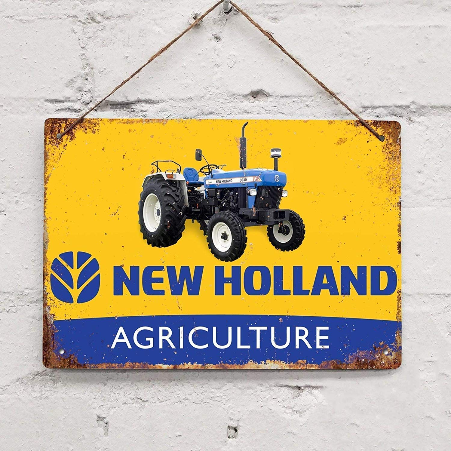1puppet& New Holland Agriculture Tractor Farm Vintage Tin Sign Metal Decor Metal Sign Wall Metal Tin Sign 8X12 inches Iron Painting
